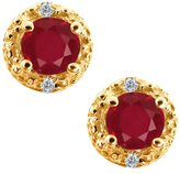 Gem Stone King 0.44 Ct Round Red Ruby and White Diamond 18k Yellow Gold Earrings