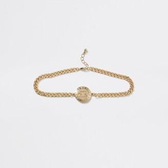 River Island Girls Gold tone RI logo chain choker necklace