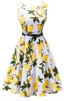 Dasbayla Women 1950s Dress Bright Sleeveless Swing A-Line Boat Neck Dresses M