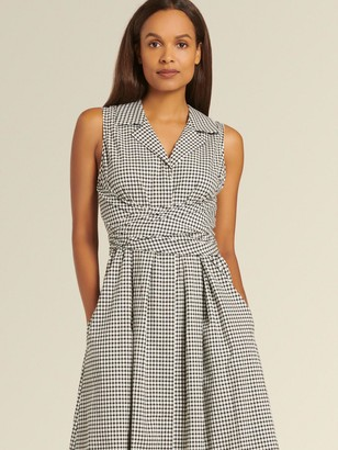 DKNY Donna Karan Women's Sleeveless Gingham Dress - Black/Ivory - Size 16