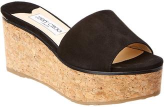 Jimmy Choo Deedee 80 Suede Platform Wedge Sandal