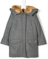 Chloé Kids fur lined hooded coat
