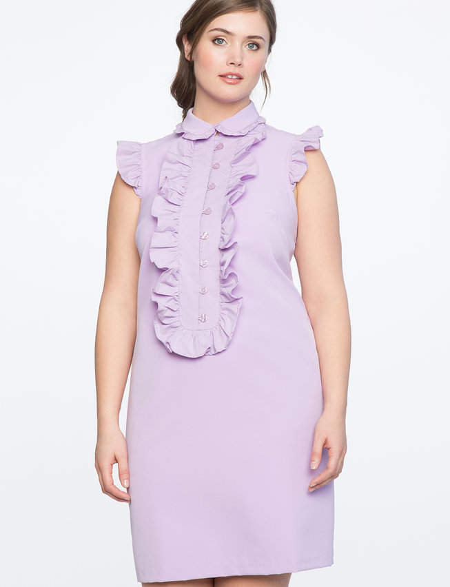 ELOQUII Ruffle Front Bib Dress