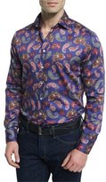 Etro Multi Paisley-Print Long-Sleeve Sport Shirt, Blue Multi