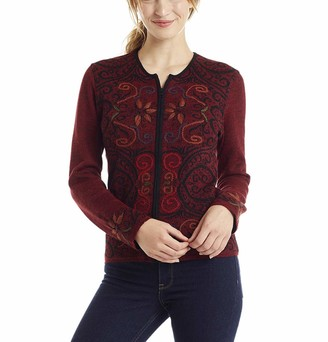 Invisible World Women's Cardigan Baby Alpaca Wool Reversible Zip Up Sweater Hand Embroidered - Arabesque - Red X-Large