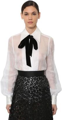 Marc Jacobs Organza Blouse W/ Velvet Bow