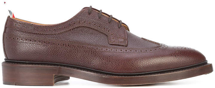 Thom Browne Classic Long Wingtip Brogue In Brown Pebble Grain