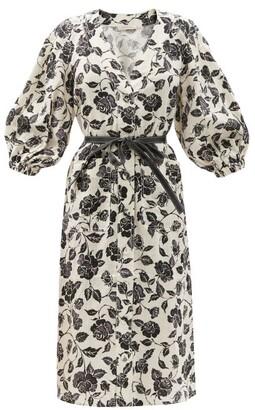 Zimmermann Lovestruck Belted Floral-print Dress - White Black