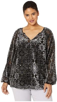 NYDJ Plus Size Plus Size Peasant Blouse (Midtown Medallion) Women's Blouse