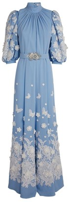 Andrew Gn Floral Applique Gown