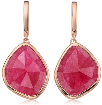 Monica Vinader Siren Large Nugget Pink Quartz earrings
