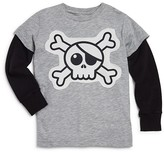 Nununu Boys' Layered Look Skull Tee - Sizes 2-9