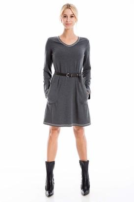 Max Studio Women's Long Sleeve Belted Dress