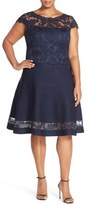 Tadashi Shoji Plus Size Women's Cap Sleeve Pintuck Skirt Fit & Flare Dress
