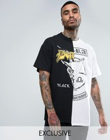 Reclaimed Vintage Inspired Oversized Spliced T-shirt In Black With Zodiac Print