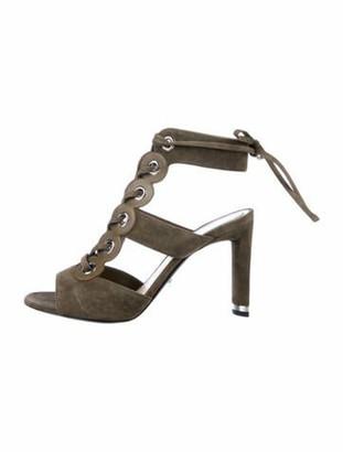 Christian Dior Suede Leather Trim Embellishment Sandals Green