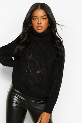 boohoo Roll Neck Chunky Cable Knit Jumper