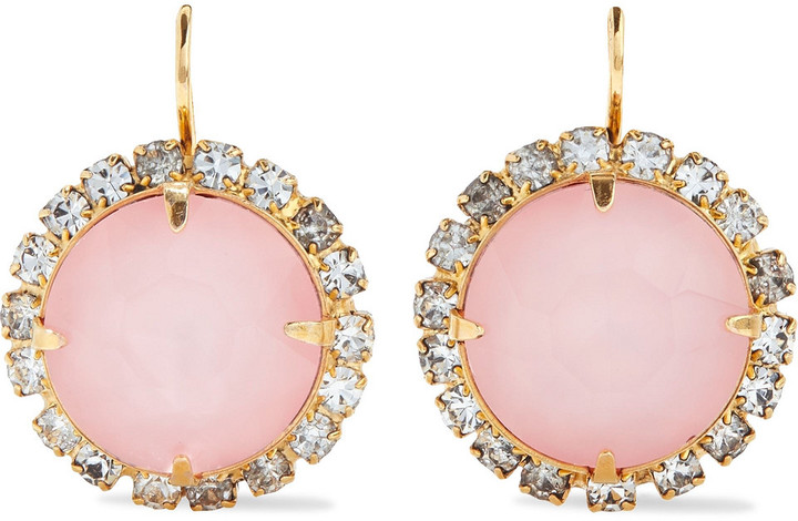 Elizabeth Cole Danette 24-karat Gold-plated Crystal Earrings