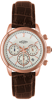 Rotary Gs02879/06 Monaco Rose Gold Plated Leather Strap Watch, Brown/white
