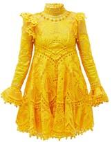 Zimmermann Brightside Palm-crochet Silk Mini Dress - Womens - Yellow