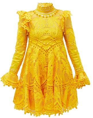 Zimmermann Brightside Palm-crochet Silk Mini Dress - Yellow