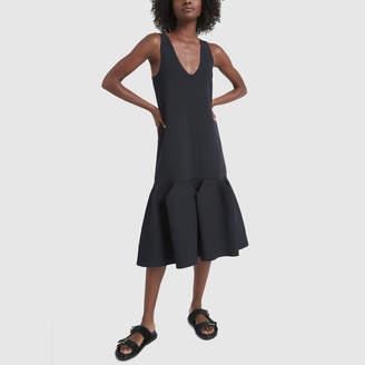 Tibi Tech Poly Sculpted Sweater Flare Long Dress