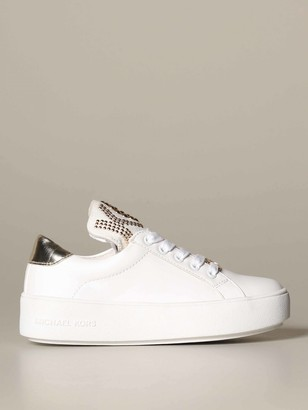 MICHAEL Michael Kors Leather Sneakers With Big Stud Logo
