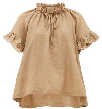 Loup Charmant Marina Ruffle-sleeve Cotton Top - Womens - Brown