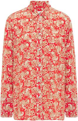 Sandro Printed Silk Crepe De Chine Shirt