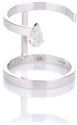 Repossi Serti Sur Vide 18kt white gold ring with pear diamond
