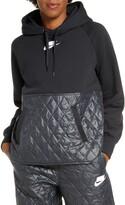 Nike Sportswear Logo Mixed Media Quilted Hoodie