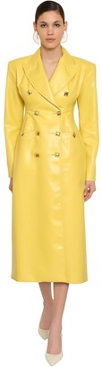 Rowen Rose DOUBLE BREASTED FAUX LEATHER COAT