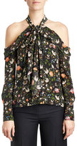 Erdem Floral Cold-Shoulder Halter Blouse, Black/Multi