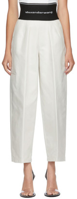 Alexander Wang White Elastic Logo Carrot Trousers
