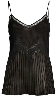 Gabriela Hearst Hermione Lace-Trim Leather Cami Top