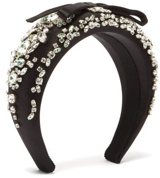 Prada Crystal-embellished Bow-appliqued Satin Headband - Black