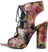 Charlotte Russe Brocade Lace-Up Slingback Sandals