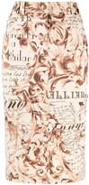 Thumbnail for your product : John Galliano Pre-Owned 2000s Baroque-Print Pencil Skirt