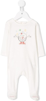 Stella Mccartney Kids singing Christmas Pudding embroidered pajamas