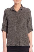 Bella Dahl Split-Back Geo-Print Button-Down Shirt