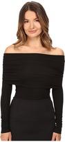 Yigal Azrouel Matte Jersey Off Shoulder Long Sleeve Top Women's Long Sleeve Pullover