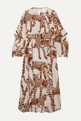 Munthe MUNTHE - Ruffled Animal-print Voile Midi Dress - Ecru
