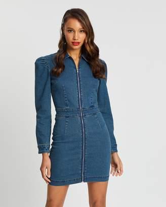 Missguided Puff Sleeve Zip-Through Denim Dress
