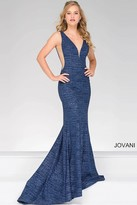 Jovani V- Neckline Prom Dress With Nude Cut Outs 45811