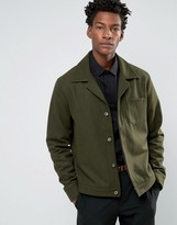Asos Wool Mix Military Jacket With Chest Pocket In Khaki