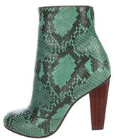 Dries Van Noten Snakeskin Round-Toe Ankle Boots
