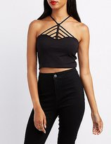 Charlotte Russe Caged Halter Crop Top