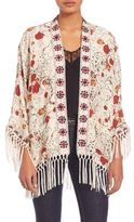 The Kooples Hippy Flower Print Silk Kimono