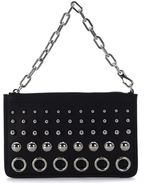 Alexander Wang Attica Chain Black Leather Pochette With Circles
