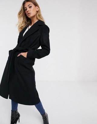 Helene Berman revere collar oversized wool blend coat-Black